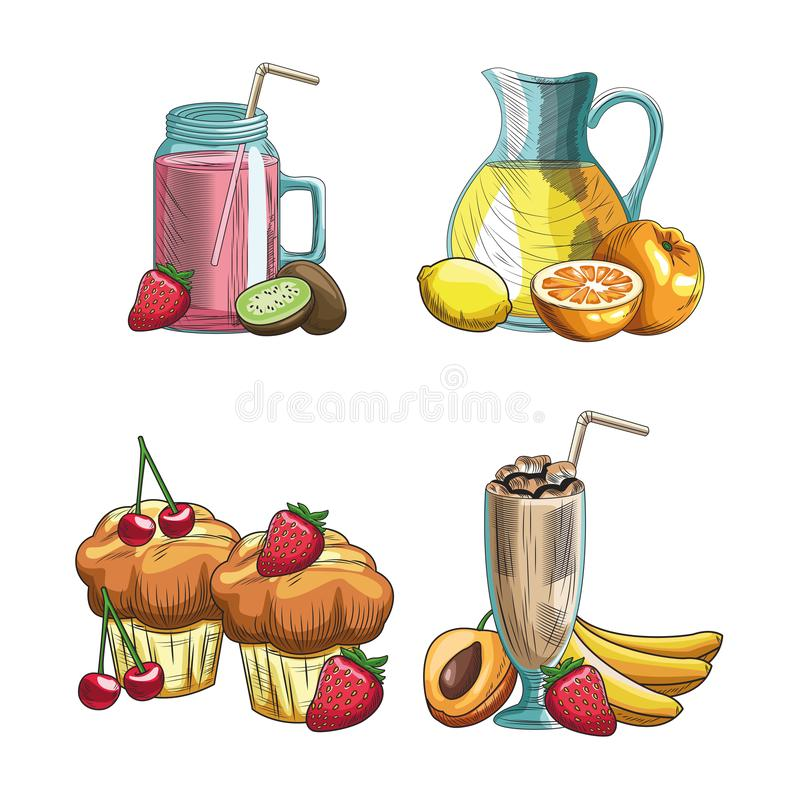 Hand drawn fruits and drinks. Muffins and fruits with delicious drinks bakery goods colorful hand drawn over flat white background sketch vector illustration royalty free illustration