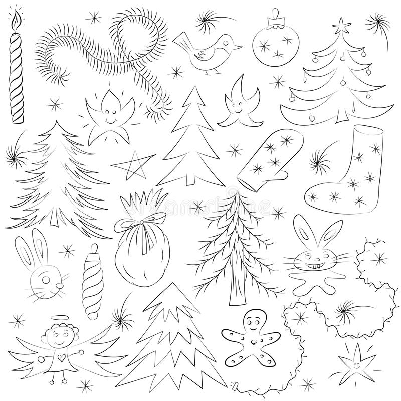 Hand Drawn Funny Doodle Christmas Sketch Set. Children Drawings of Fir Trees, Gift, Candle, Toys, Angel Stars and Snowflakes vector illustration