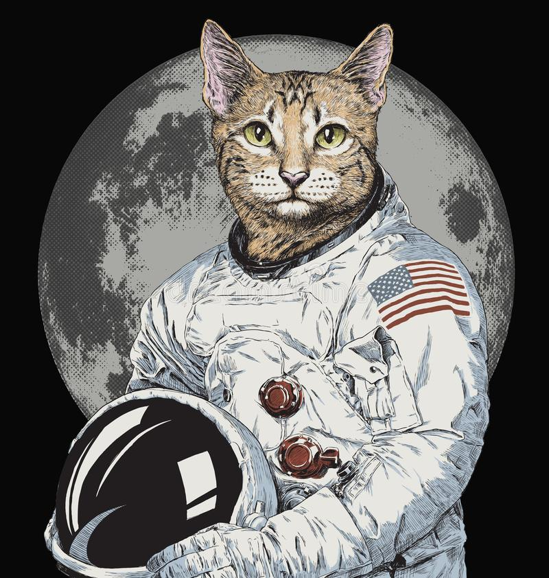 Hand drawn funny hipster cat astronaut vector illustration stock photo