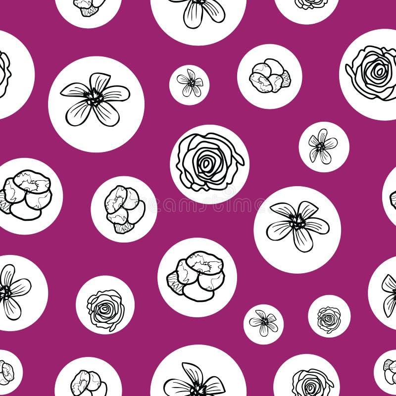 Hand drawn garden flowers seamless pattern background. vector illustration