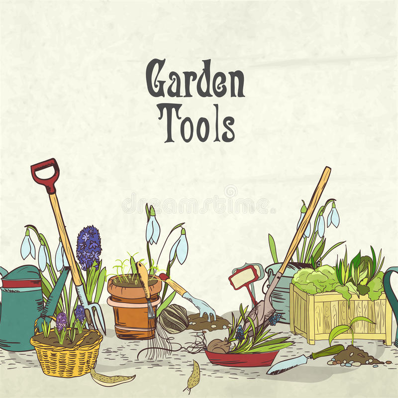 Download Hand Drawn Gardening Tools Album Cover Stock Vector - Image: 38410188