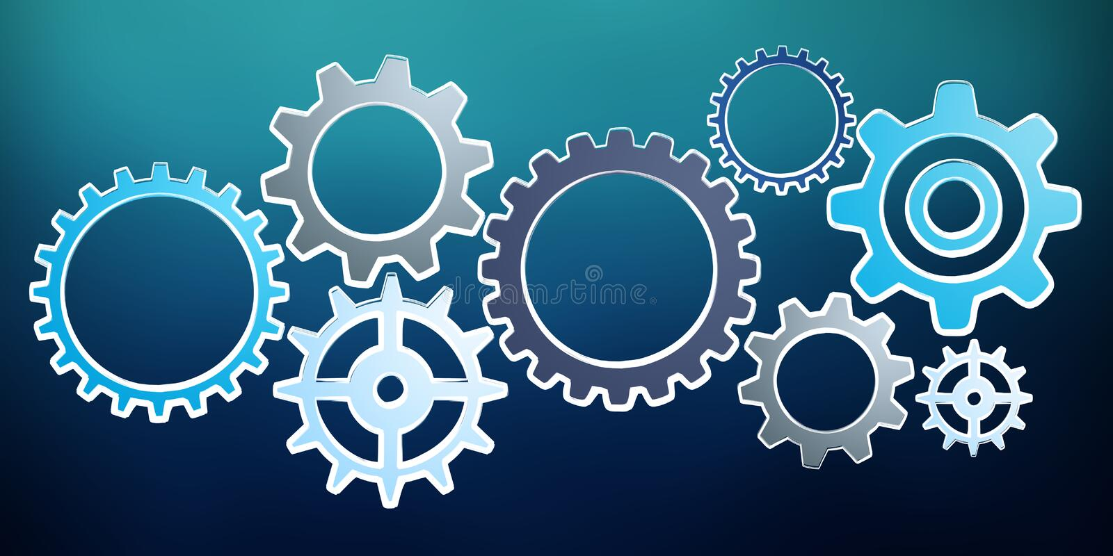 Hand-drawn gears sketch vector illustration