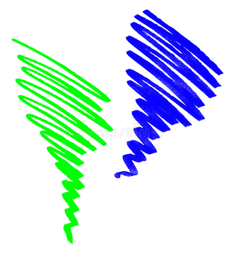 Hand-drawn gekleurd gekrabbel stock afbeeldingen