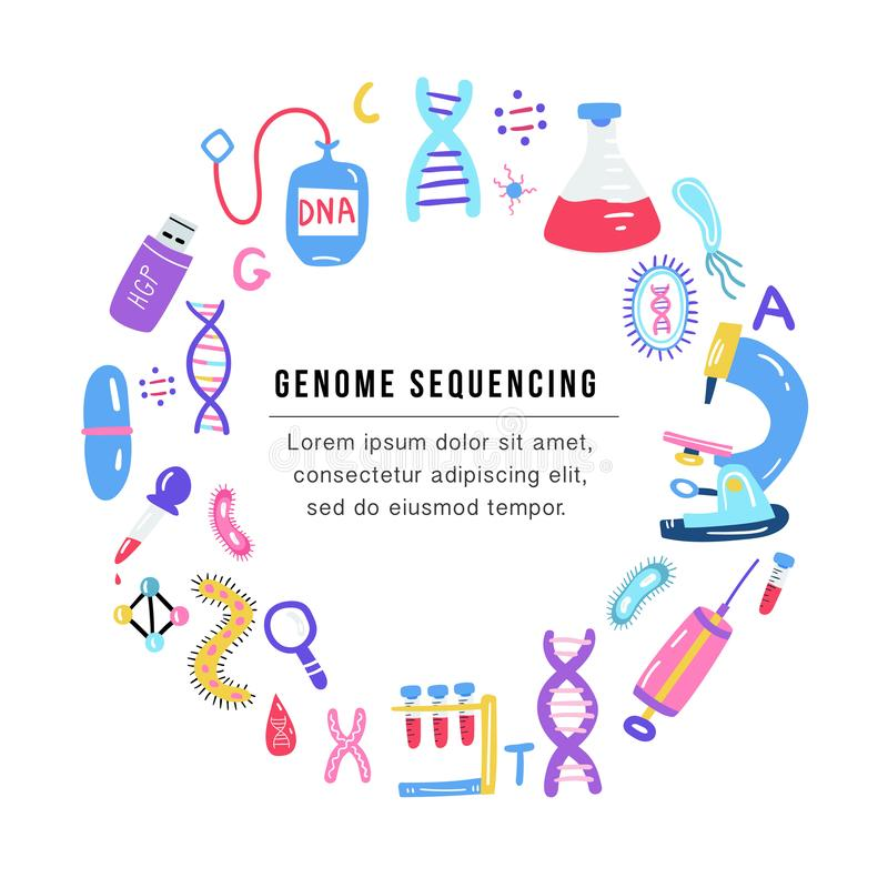 Hand drawn genome sequencing concept. Human dna research technology symbols. Nano technology elements made in vector. Human genome project vector illustration