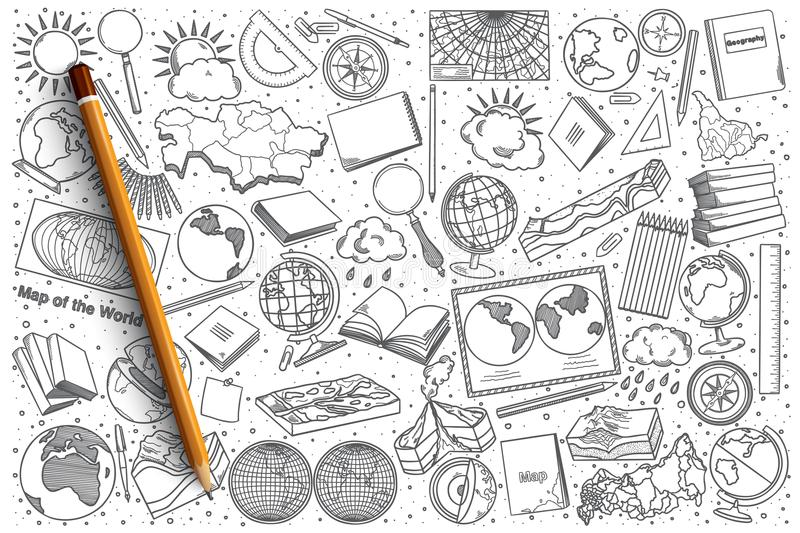 Hand drawn Geography vector doodle set. Background royalty free illustration