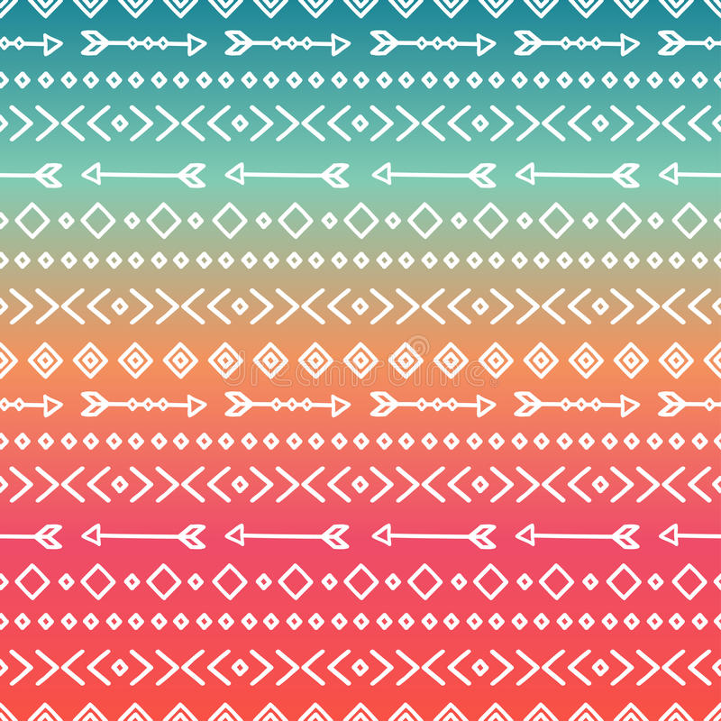 Hand drawn geometric ethnic tribal seamless pattern. Wrapping paper. Scrapbook. Doodles style. Tribal native vector royalty free illustration