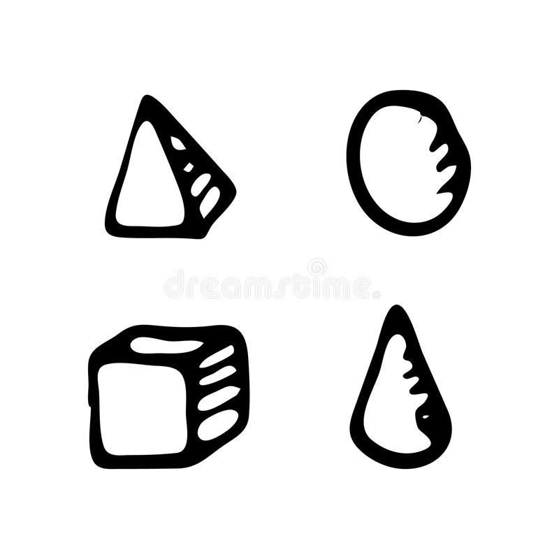 Hand drawn geometric figures doodle. Sketch Back to school, icon royalty free illustration