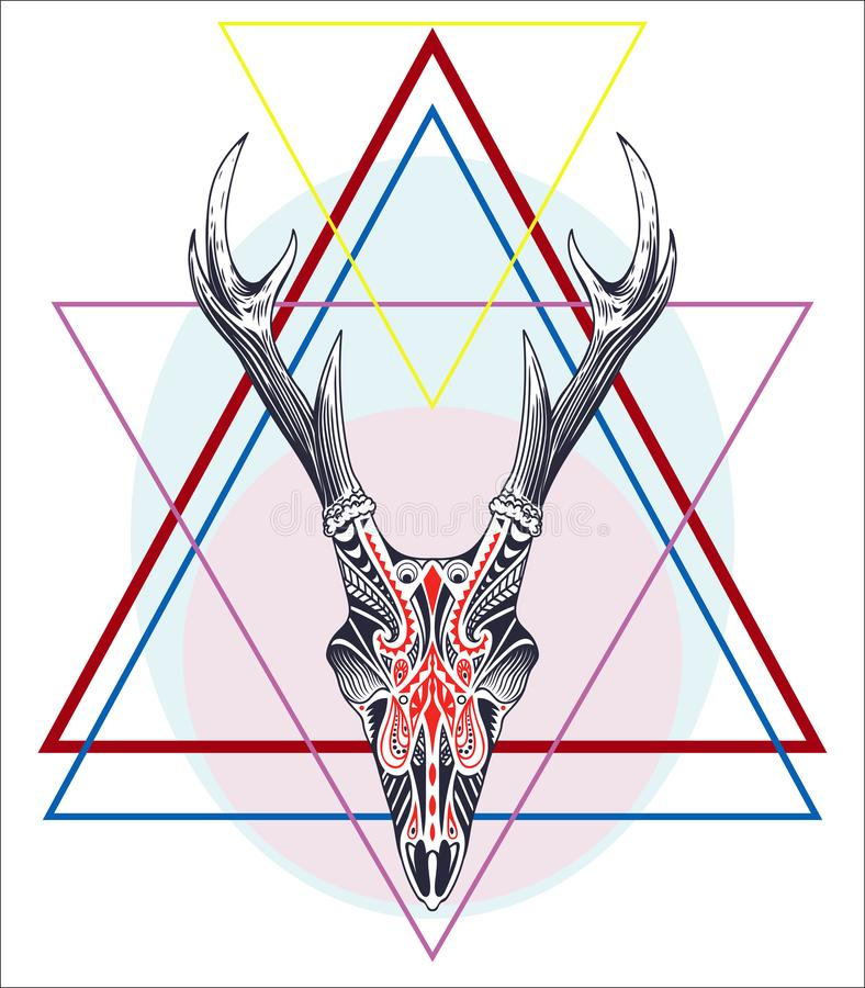 Hand drawn geometric label with deer skull with antlers textured. Illustration royalty free illustration