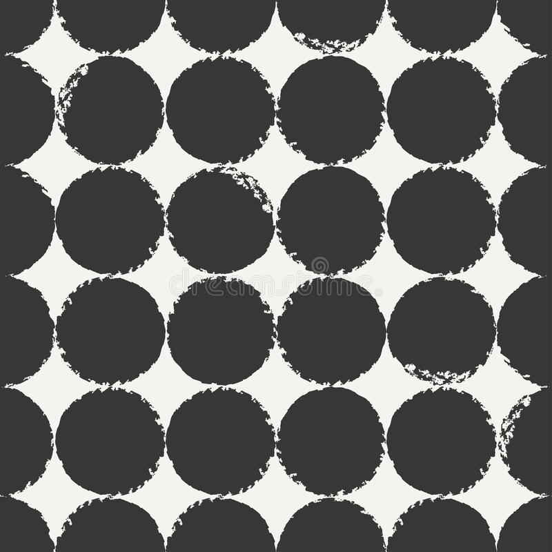 Hand drawn geometric seamless ink polka dot pattern. Wrapping paper. Abstract vector background. Round brush strokes. Casual polka dot texture. Doodle. Dry vector illustration
