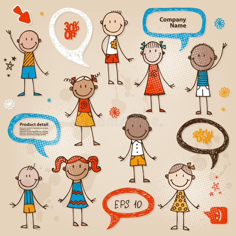 Hand-drawn geplaatste bellen van de kinderentoespraak