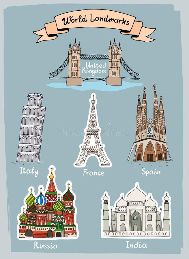 Hand-drawn geplaatste pictogrammen van wereldoriëntatiepunten stock illustratie