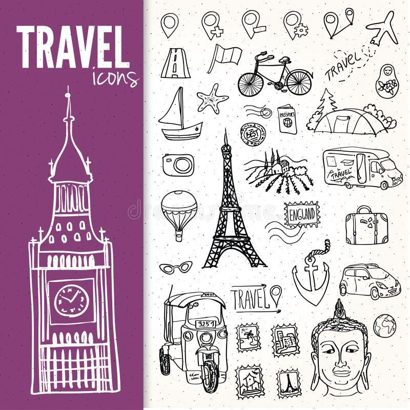 Hand-drawn geplaatste reissymbolen vector illustratie