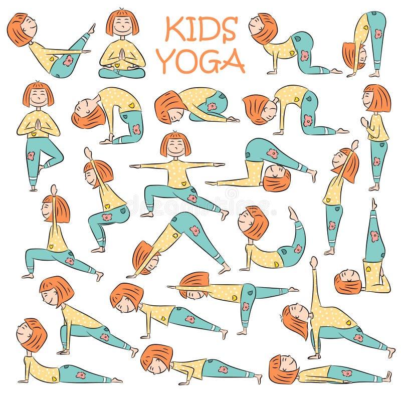 Hand-drawn geplaatste Yogajonge geitjes vector illustratie
