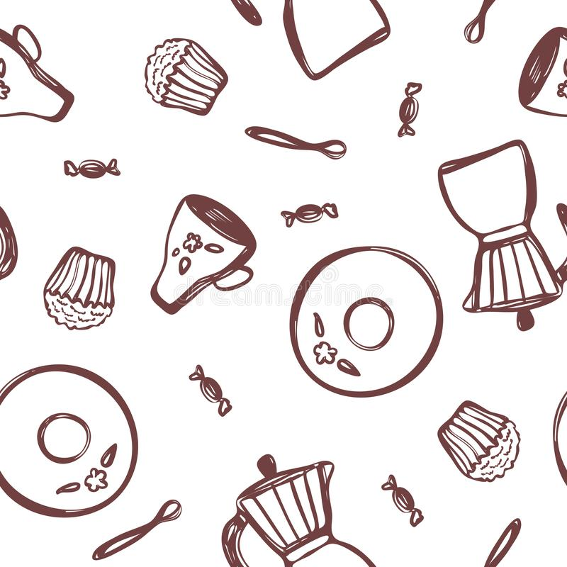 Hand-drawn geyser coffee maker, saucer, cup, spoon, candy and a cupcake on a white background. vector illustration. For design, backgrounds and wallpapers vector illustration