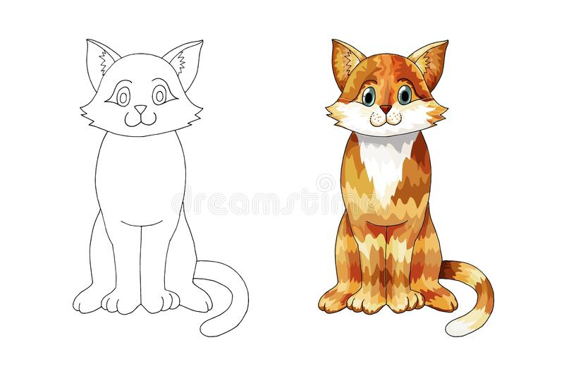 Hand drawn ginger cartoon cat for children coloring book page or tattoo stock illustration