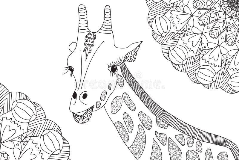 hand drawn giraffe illustration coloring book mandalas adult anti stress page black white