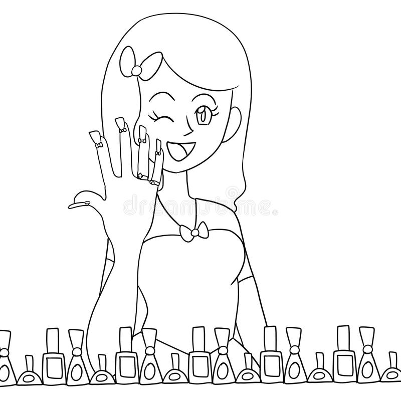 Hand drawn girl coloring page vector illustration