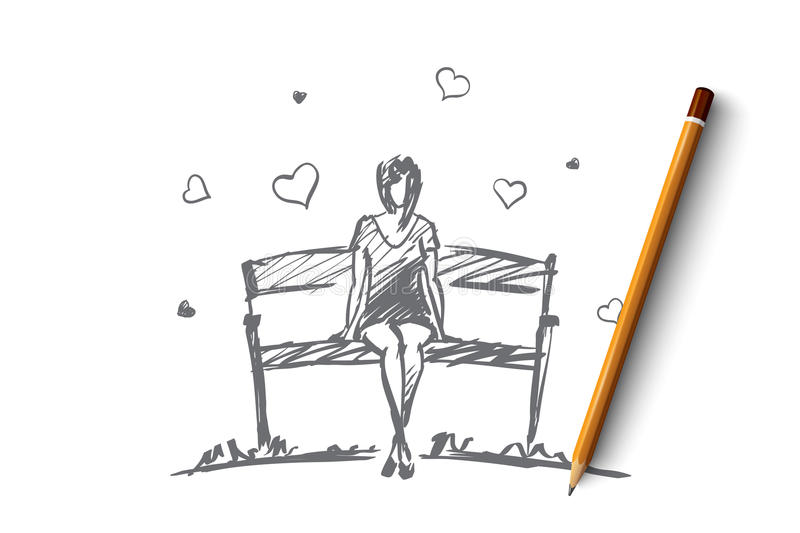 Hand drawn girl in love sitting on bench. Vector hand drawn girl hearts concept sketch with pencil over it. Young girl in love sitting on bench stock illustration