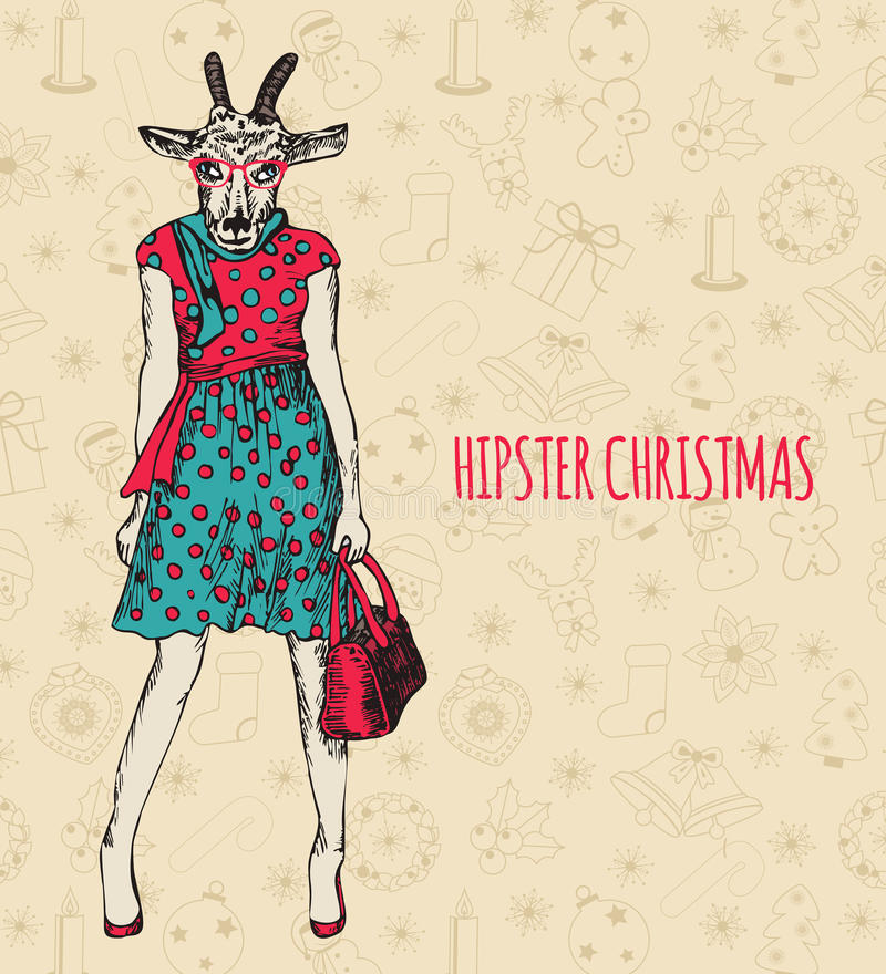 Hand drawn goat woman. Hipster Christmas greeting vector illustration