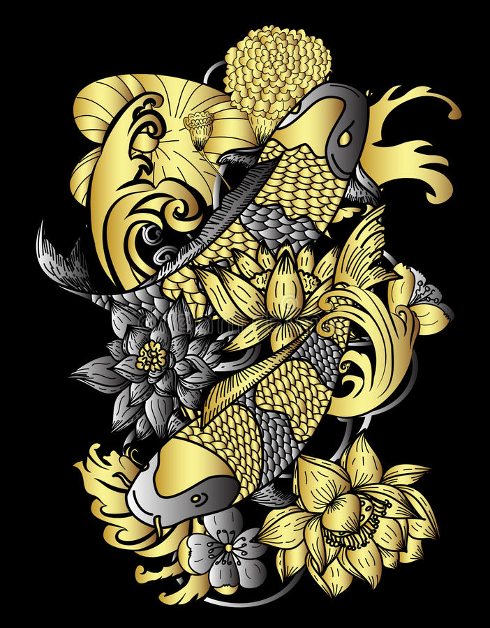 Hand drawn gold koi fish and flower japanese tattoo style for Black and gold koi fish