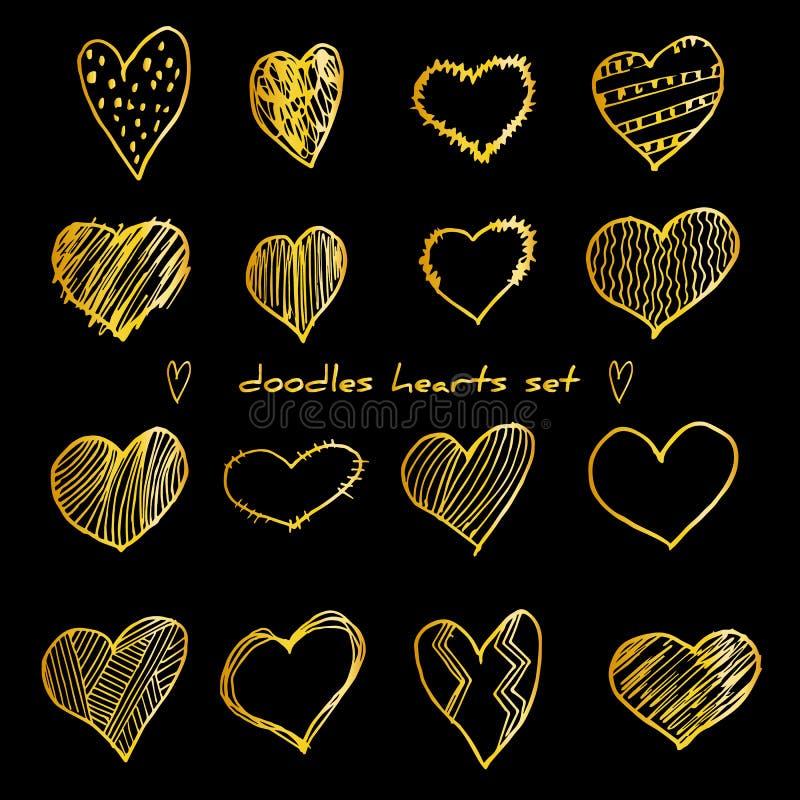 Hand-drawn golden doodle hearts vector illustration set isolated on black. Design elements for Valentine`s day, wedding stock illustration
