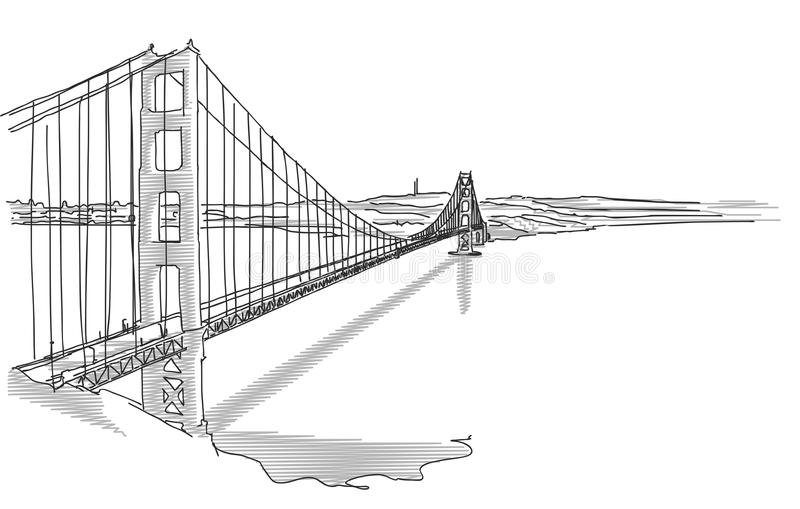 Hand Drawn Golden Gate Bridge. In Two Tone Grays, Vector Sketch vector illustration