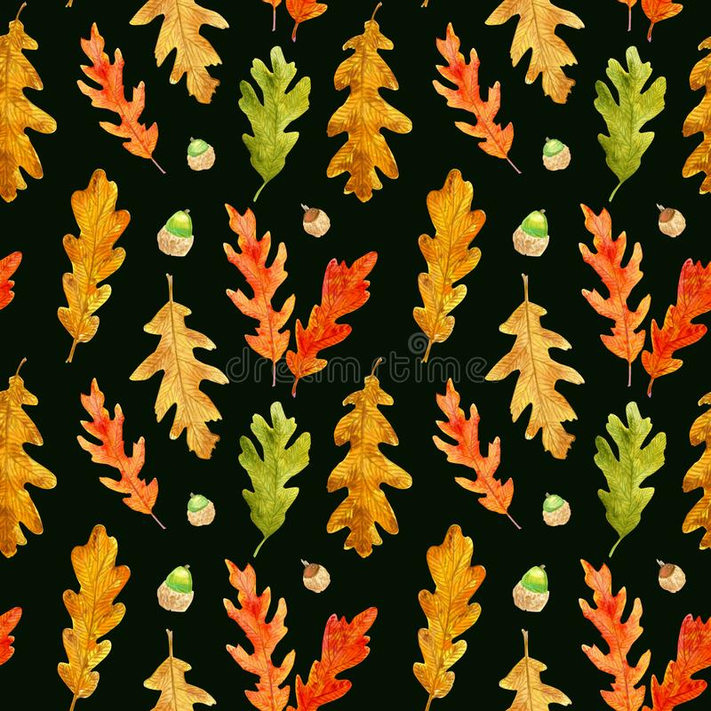 Watercolor autumn oak leaves and acorns seamless pattern on black royalty free illustration