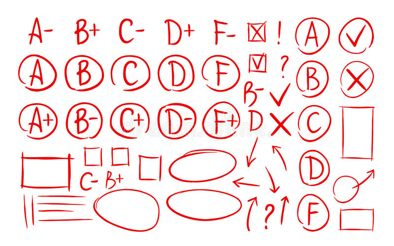 Hand drawn grade results, check marks set of icons. School, education, business symbol. Exam, examination, test vector. Hand drawn grade results, check marks set vector illustration