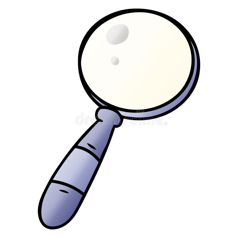 Hand drawn gradient cartoon doodle of a magnifying glass. A creative gradient cartoon doodle of a magnifying glass stock illustration
