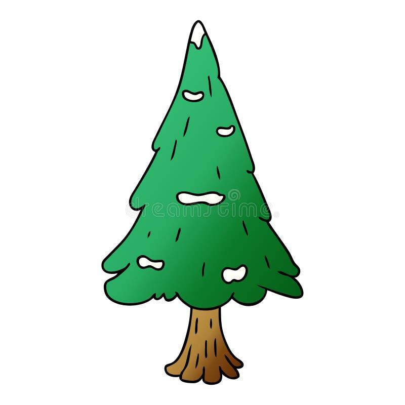 Hand drawn gradient cartoon doodle single snow covered tree. A creative gradient cartoon doodle single snow covered tree stock illustration
