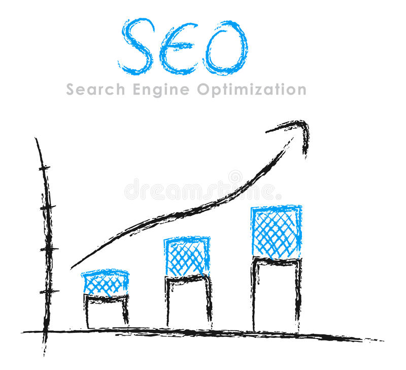 Hand-drawn grafiek SEO stock illustratie