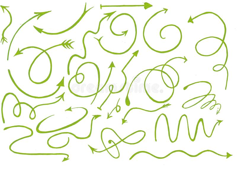 Hand drawn graphic green arrows set with white background, green doodle stock illustration
