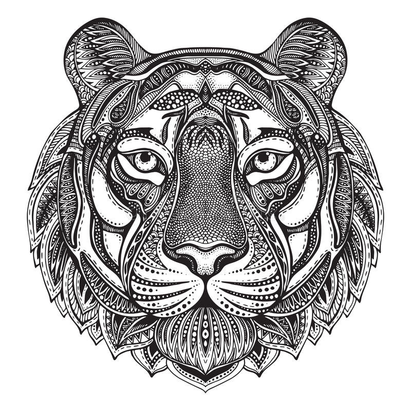 Hand drawn graphic ornate tiger stock photography