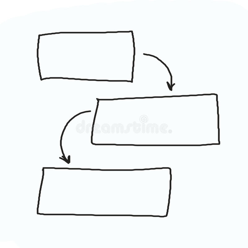 Hand drawn graphics or diagram symbols to input information concept for business (Management system). On white background royalty free stock photo