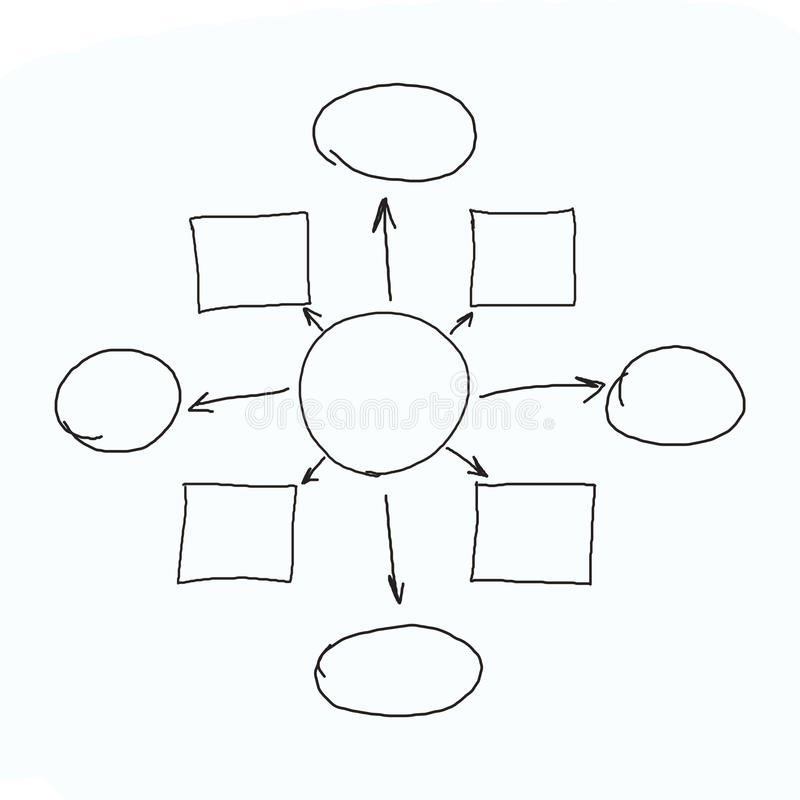 Hand drawn graphics or diagram symbols to input information concept for business (Management system). On white background stock photo