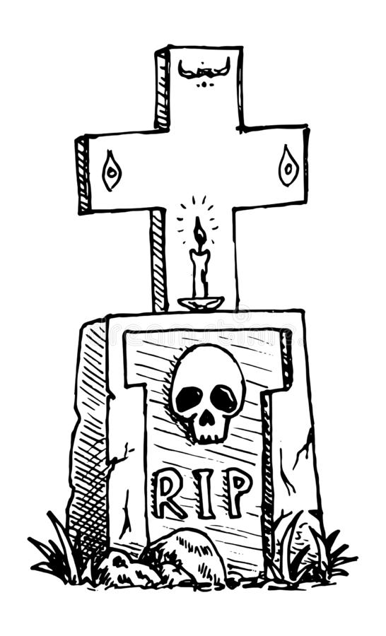Hand Drawn grave with a cross, a candle, a skull doodle. Sketch style icon. Decoration element. Isolated on white background. Flat royalty free illustration