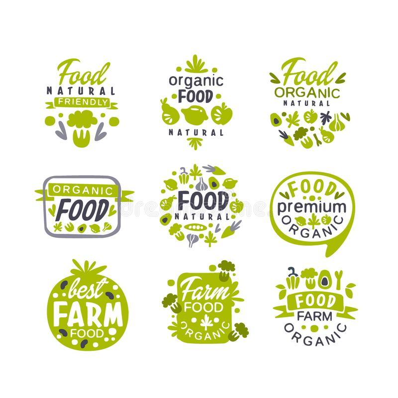 Hand drawn gray and green organic healthy food logo set. Fresh farm products. Creative labels with vegetables and fruits stock illustration