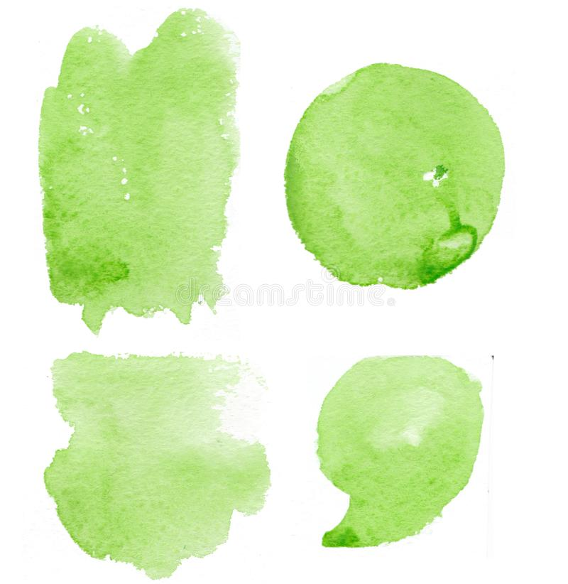 Hand drawn green splashes watercolor set, spots watercolor. Green splash stock illustration
