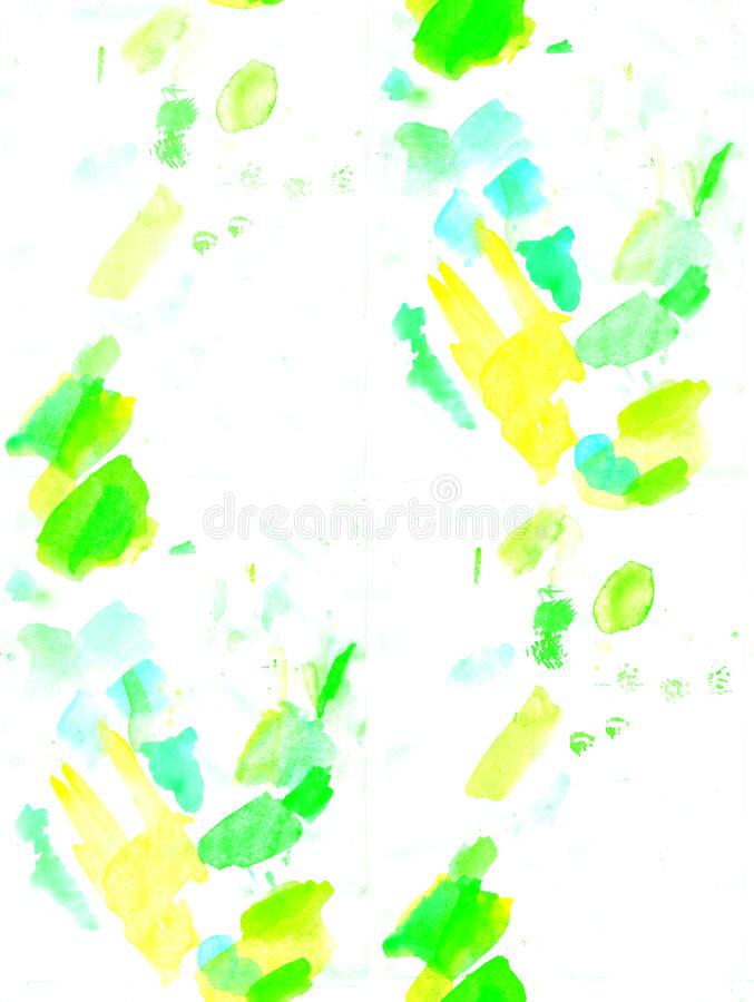 Green and yellow watercolor seamless pattern. Grunge brush paint abstract texture. Can be used for headline, logo and royalty free stock images