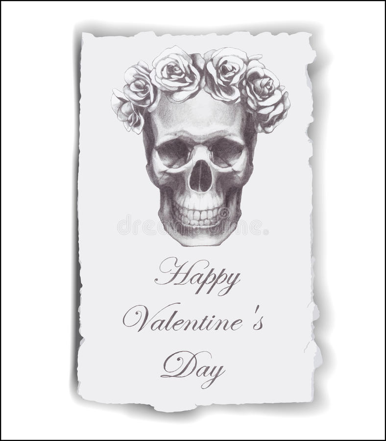 Hand-drawn greeting card for Valentine's Day with roses and skull. royalty free illustration