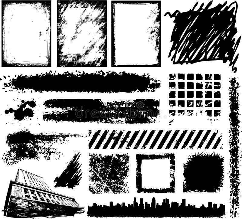 Hand drawn Grunge design elements stock illustration