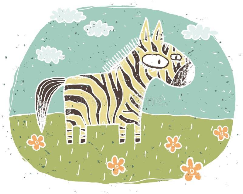 Hand drawn grunge illustration of cute zebra on background with stock illustration