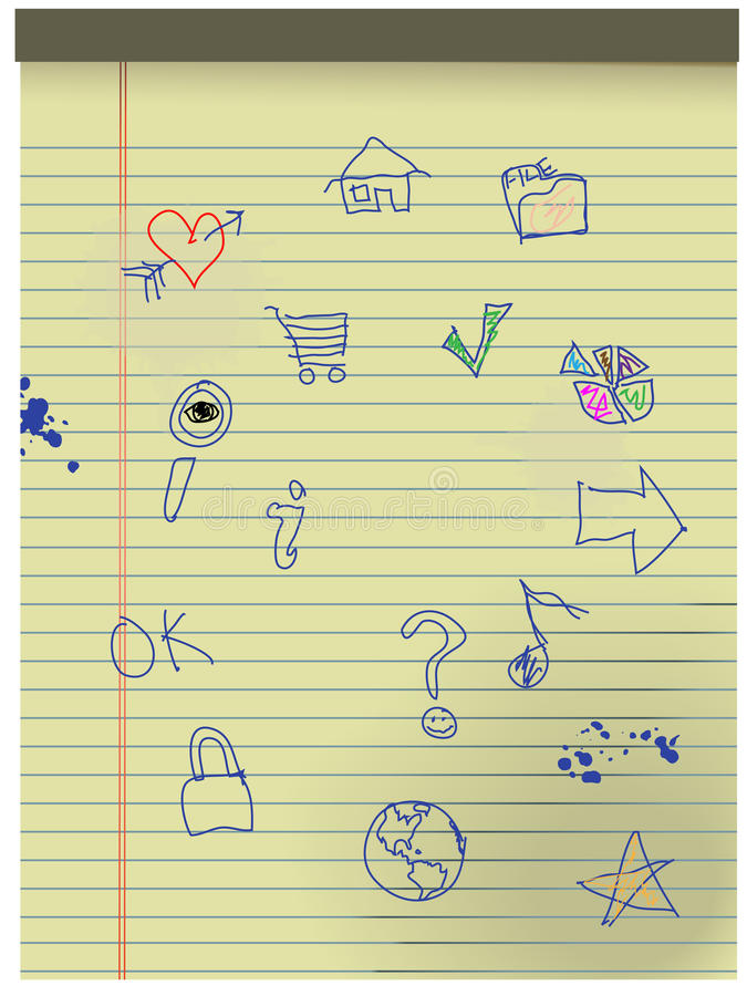Hand drawn Grunge Kids Icons on Yellow Legal Paper vector illustration