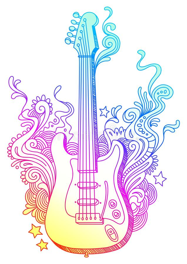 Hand Drawn Guitar Stock Photo