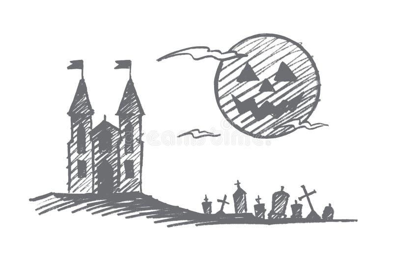 Hand drawn Halloween castle, cemetery, full moon stock illustration