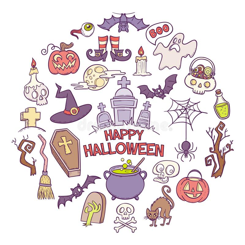 Hand drawn halloween elements royalty free illustration