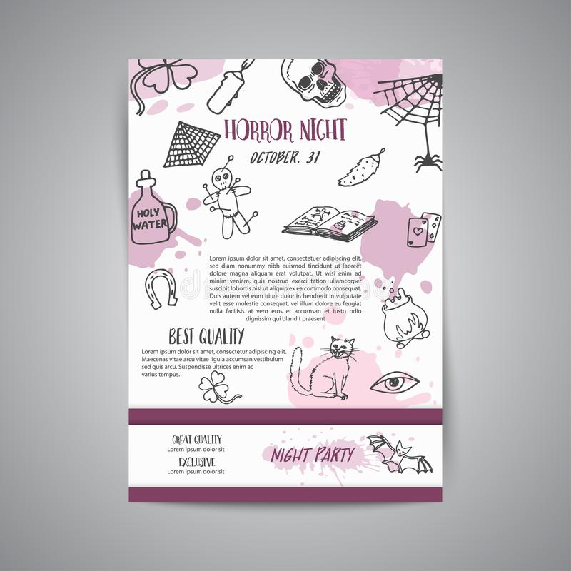 Hand drawn halloween newsletter template. Horror night poster background. Spooky party invitation Vector. Illustration royalty free illustration