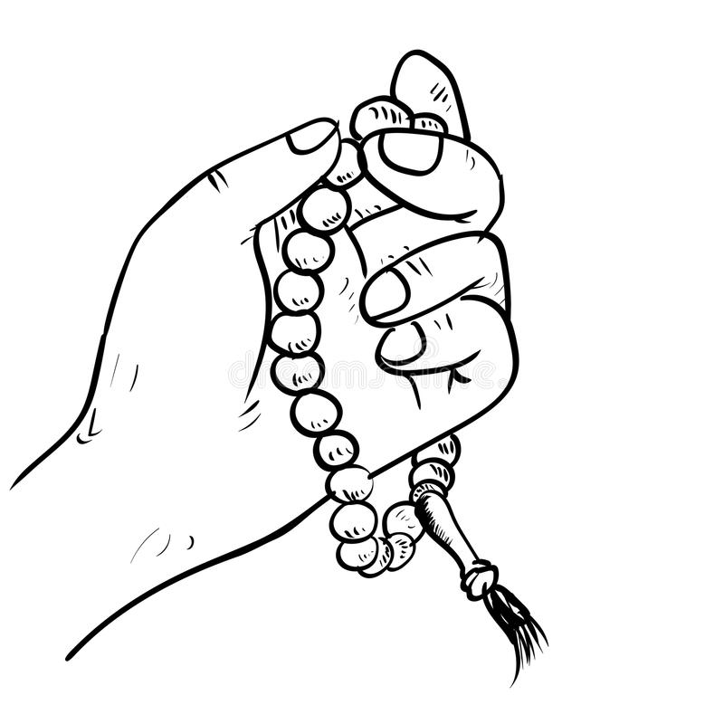 Hand drawn Hand holding Beads- Drawing Vector. Hand drawn Hand holding Islamic prayer beads in cartoon style isolated on white background. Religion symbol stock vector illustration