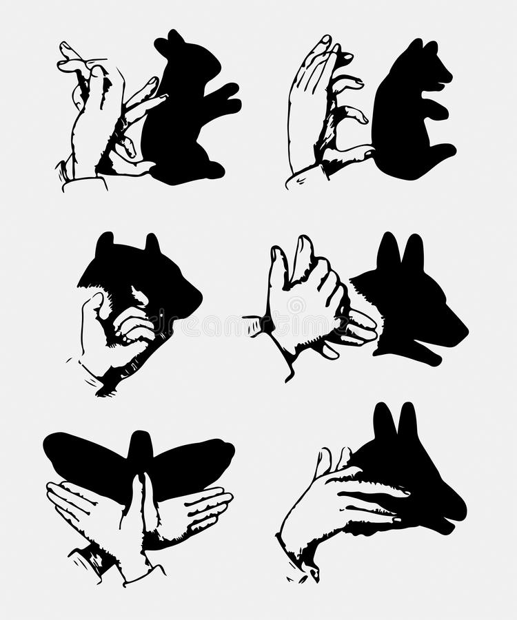Hand drawn hands and shadows vector for t shirt printing and embroidery stock photo