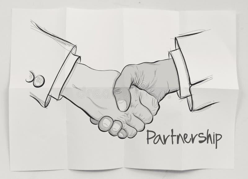 Hand drawn handshake sign stock illustration